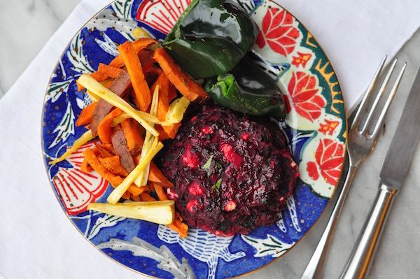beetroot burger overhead colourful plate