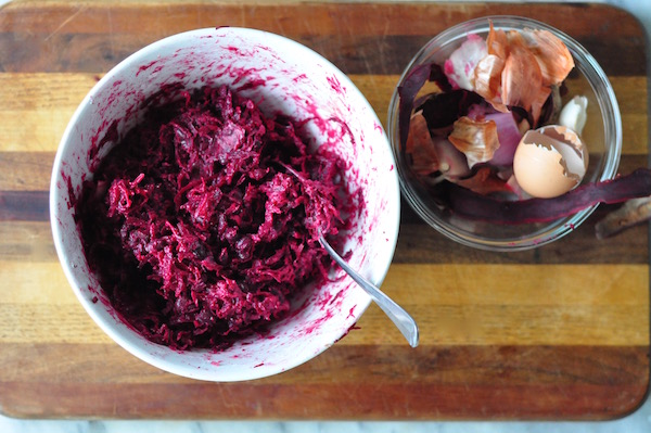 grated beetroot and shallot