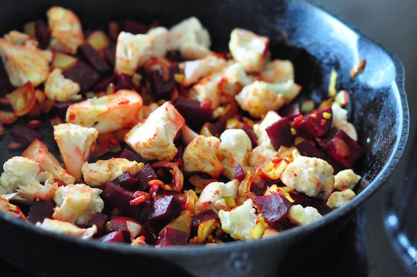 sauteeing beetroot and cauli