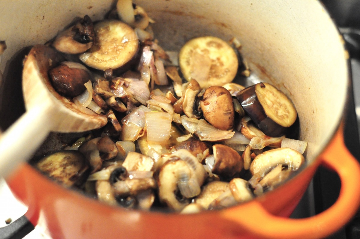 cooking mushrooms and aubergines