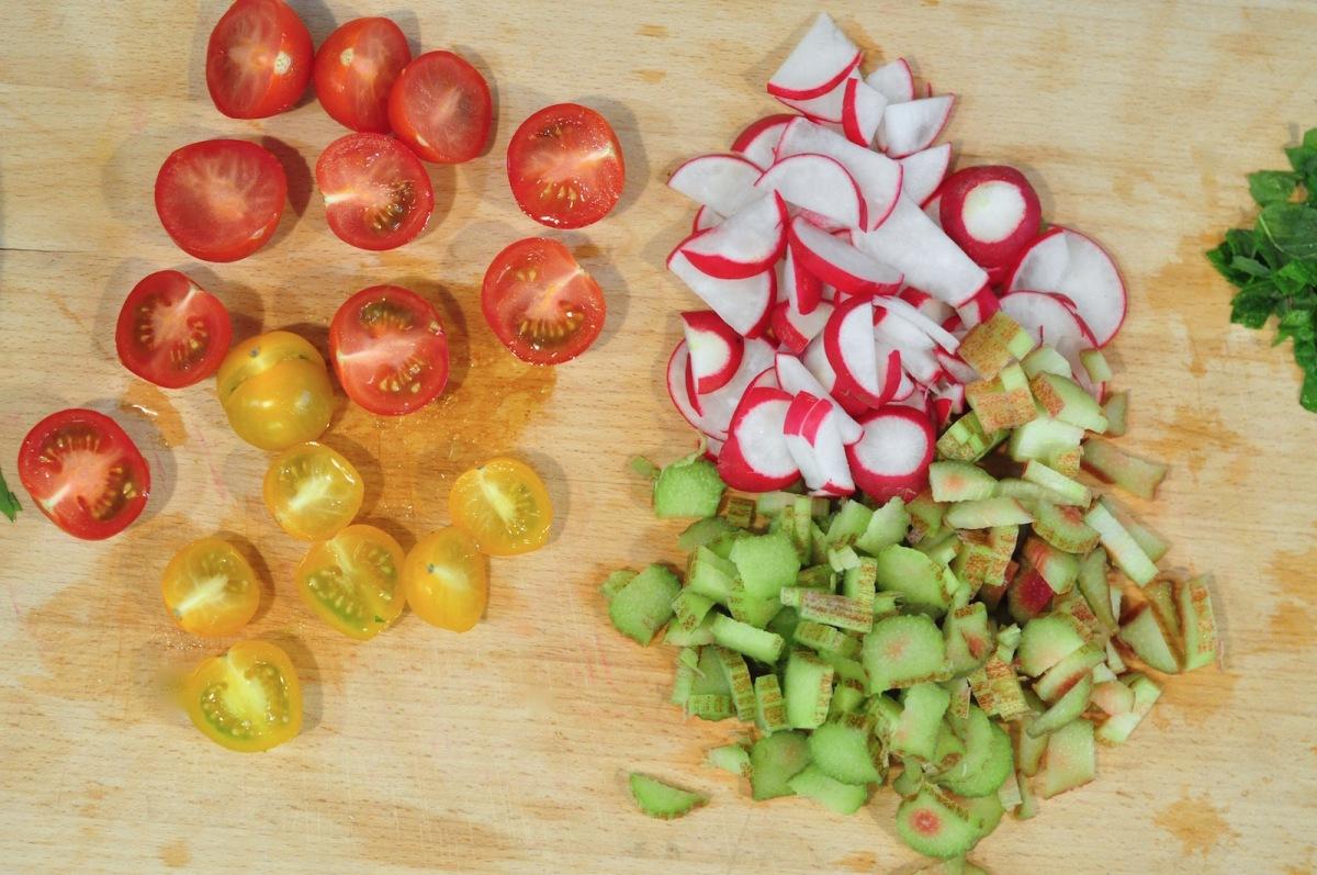 chopped tomatoes and rhubarb overhead